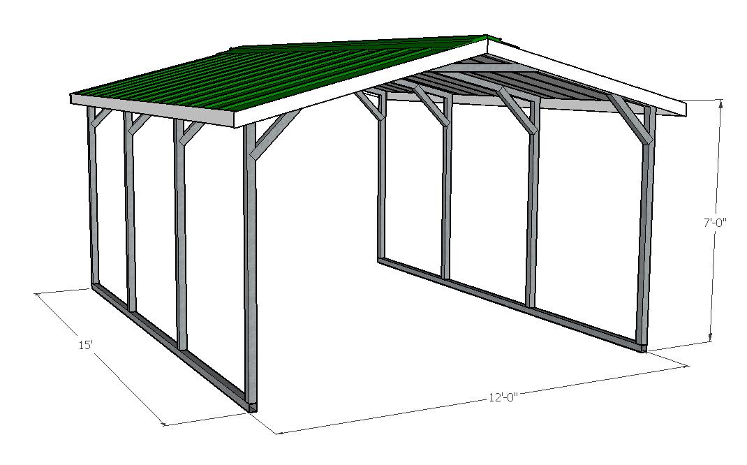 12x15x7 Green Carport Hci Steel Buildings